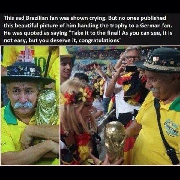 Brazilian fan with trophy