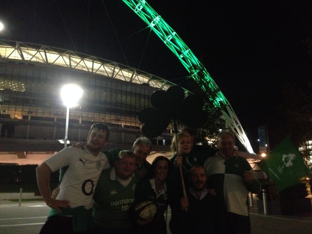 The Wembley arch turns green