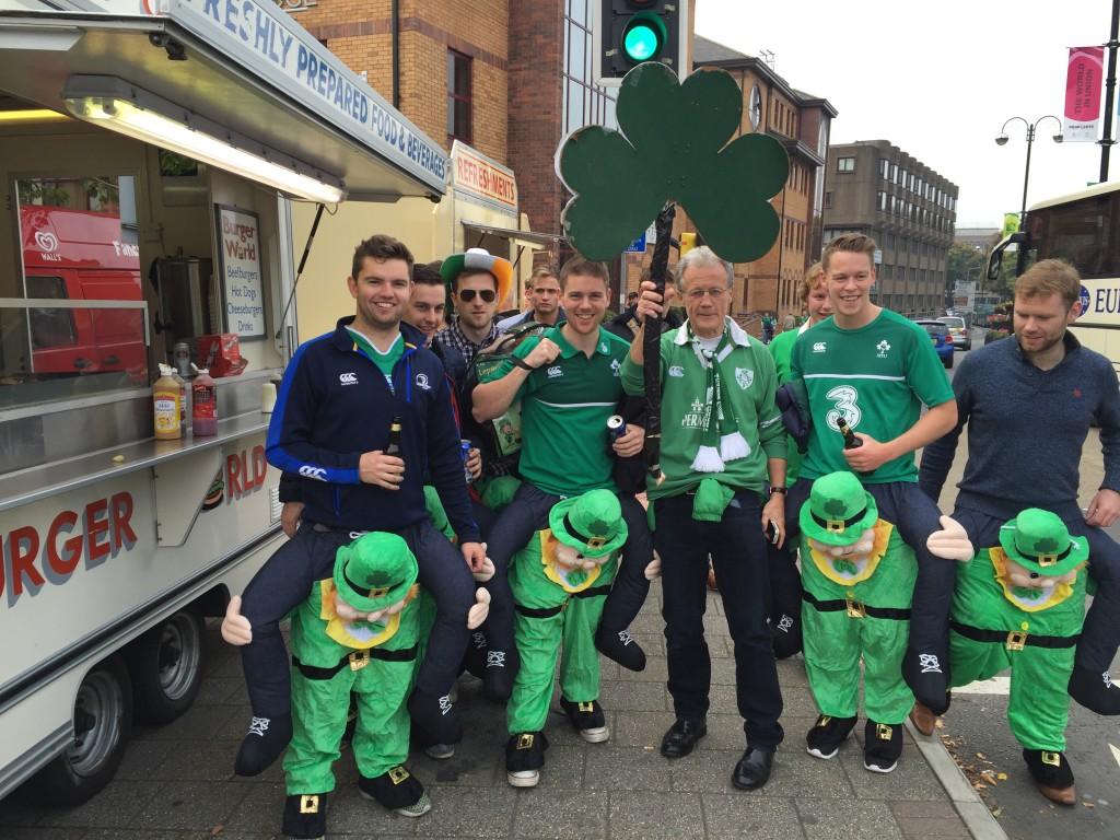 Leprachauns carrying Irish fans