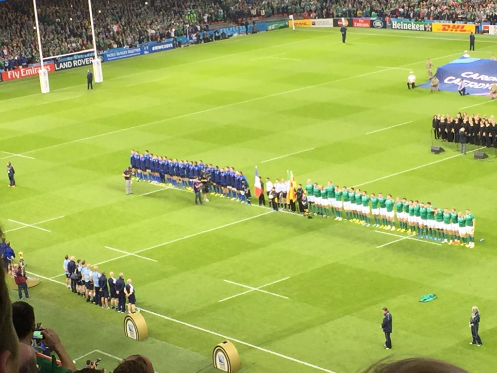 French & Irish teams line up for the national anthems RWC2015