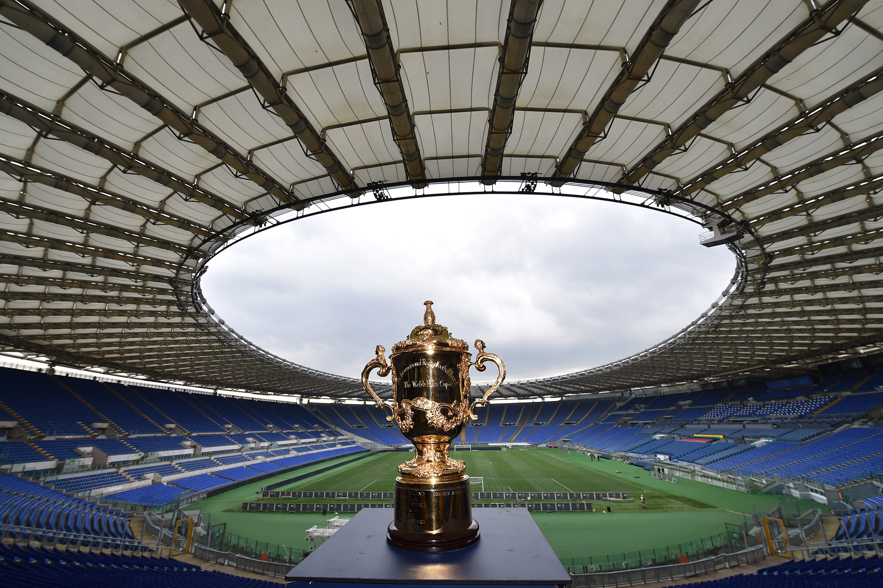 ROME, ITALY - JANUARY 14:  The Webb Ellis Cup visits the Olympic Stadium, Rome as part of the Rugby World Cup Trophy Tour, delivered in partnership with Land Rover and DHL on January 14, 2015 in Rome, Italy.  (Photo by Valerio Pennicino/Getty Images for England Rugby 2015)
