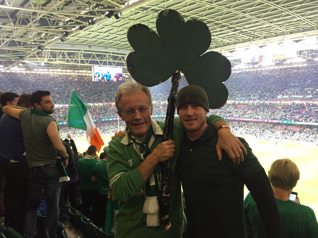 Paul Smith and his son Cian feeling proud after the game
