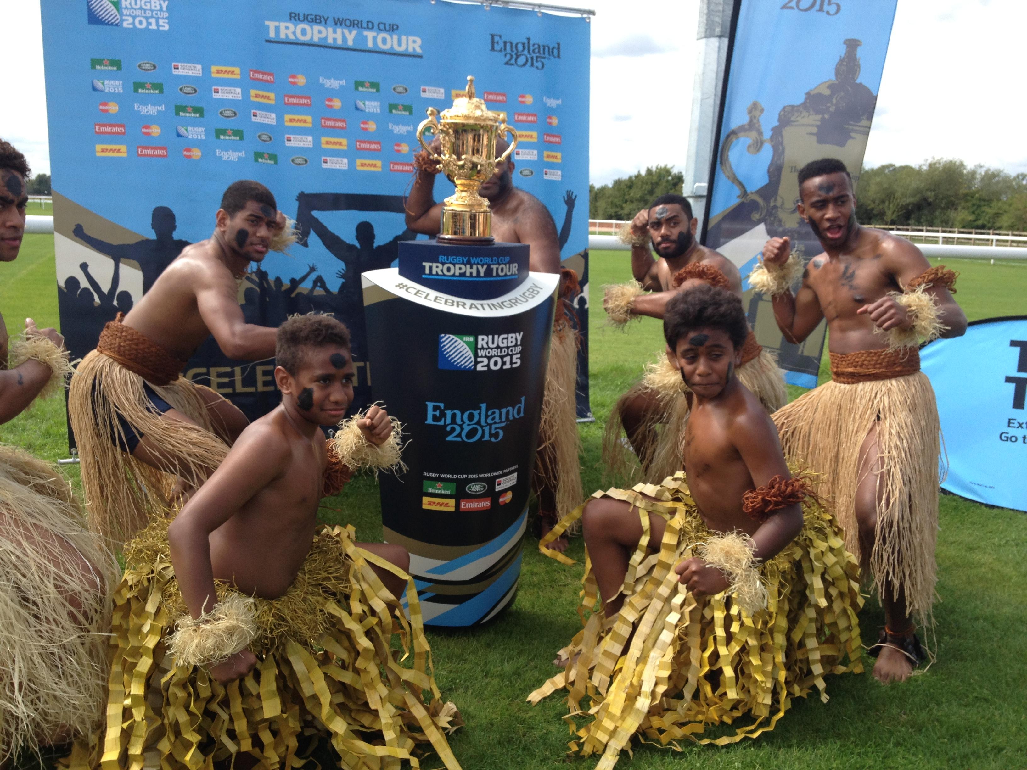 Fijian war dancers brighten up everyone's day RWC2015