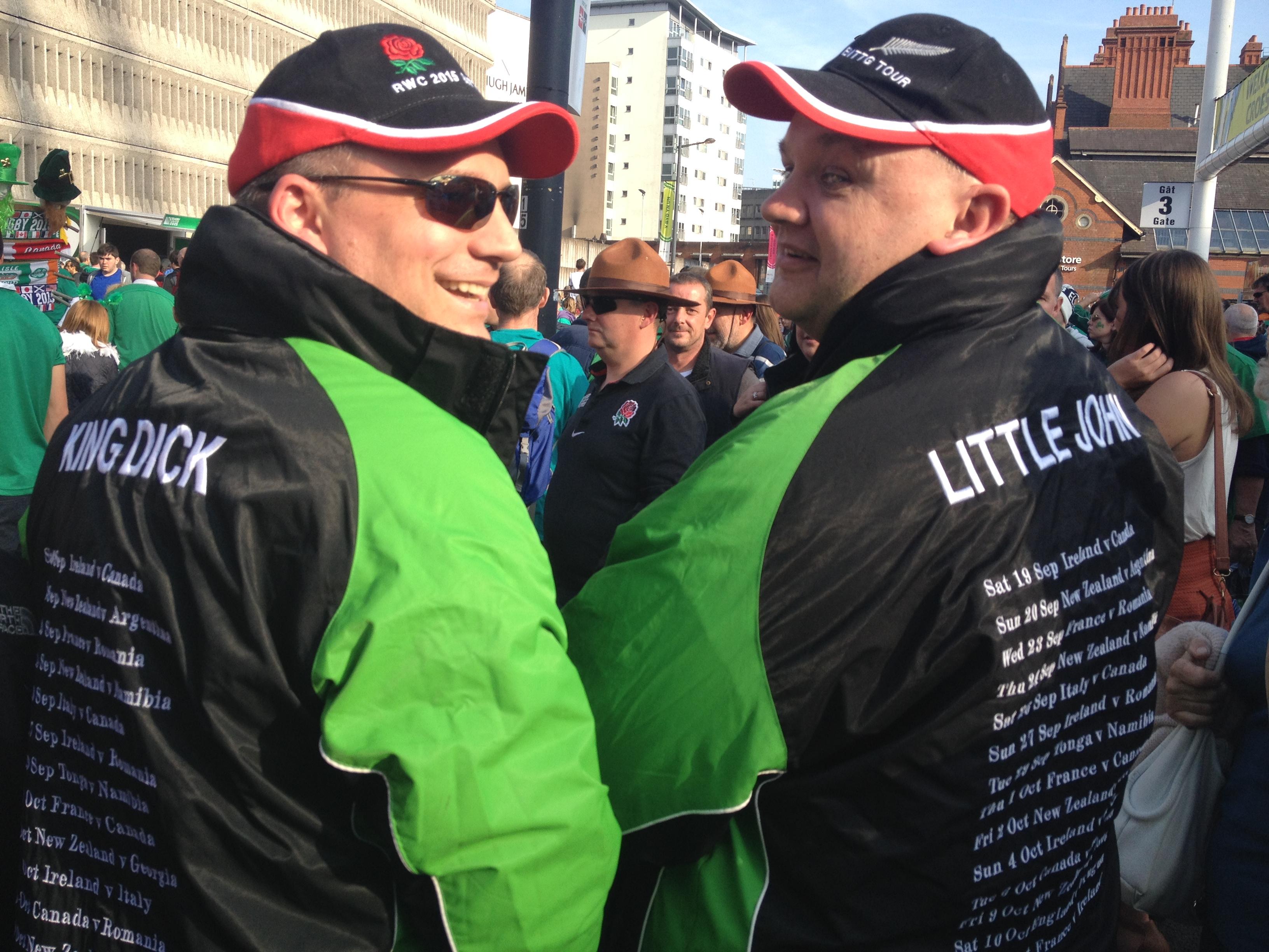 King Dick and Little John (two guys wearing jackets , one is King Dick and the other, is Little John RWC2015
