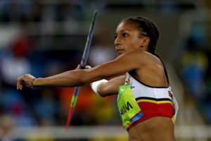 Photo of Belgium's Nafissatou Thiam throwing the javlin