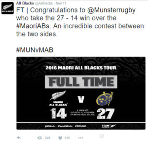 A tweet from the ABs congratulating Munster