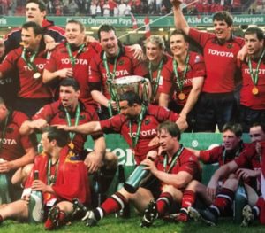 Munster captain, Anthony Foley, (centre) holding Munster's first