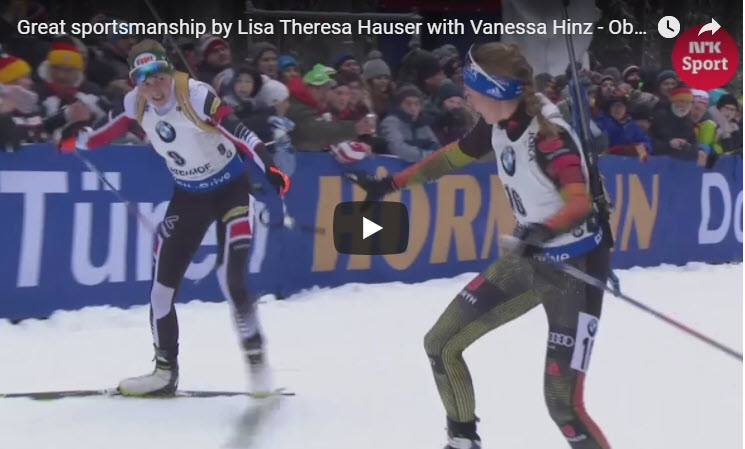 Opposition Skiers help each other