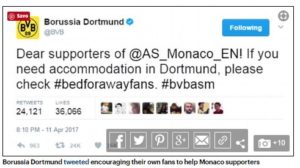 Dortmund FC tweet asking their fans to help Monaco fans