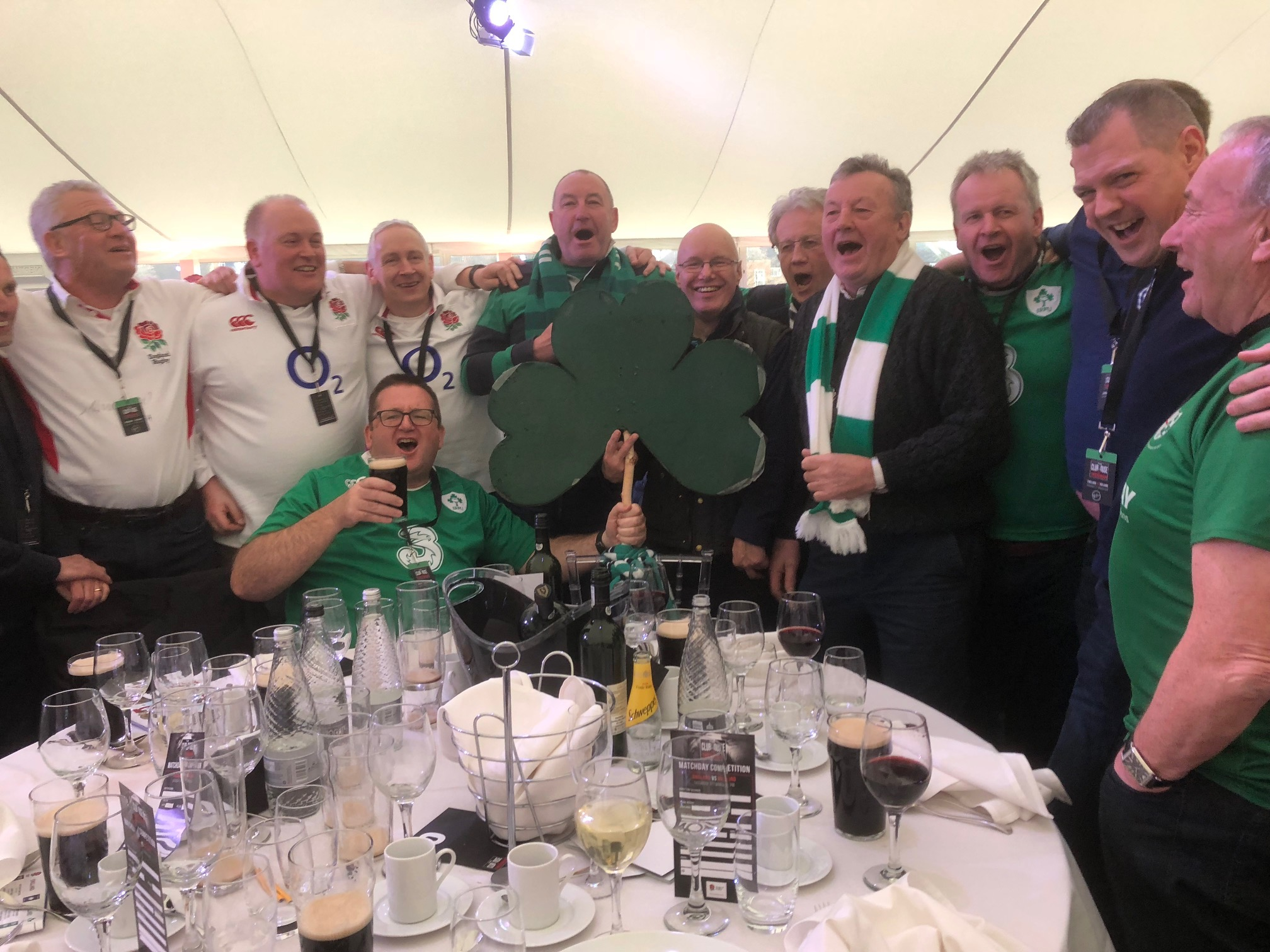 England fans celebrate Irealnd's victory with Irish fans all over London
