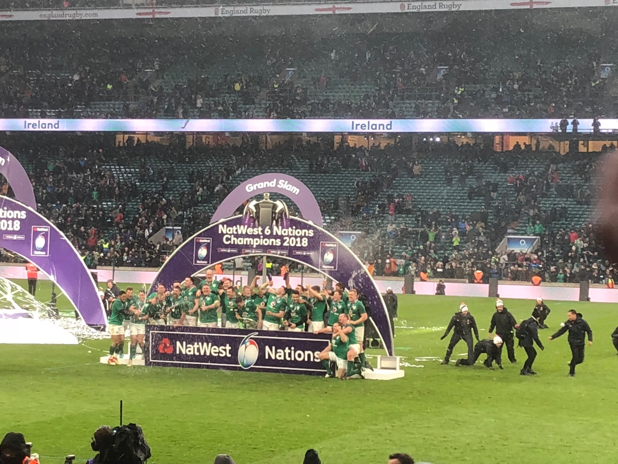 Ireland celebrate winning the 2018 Nat West 6 Nations Trophy , the Grand Slam and the Triple Crown