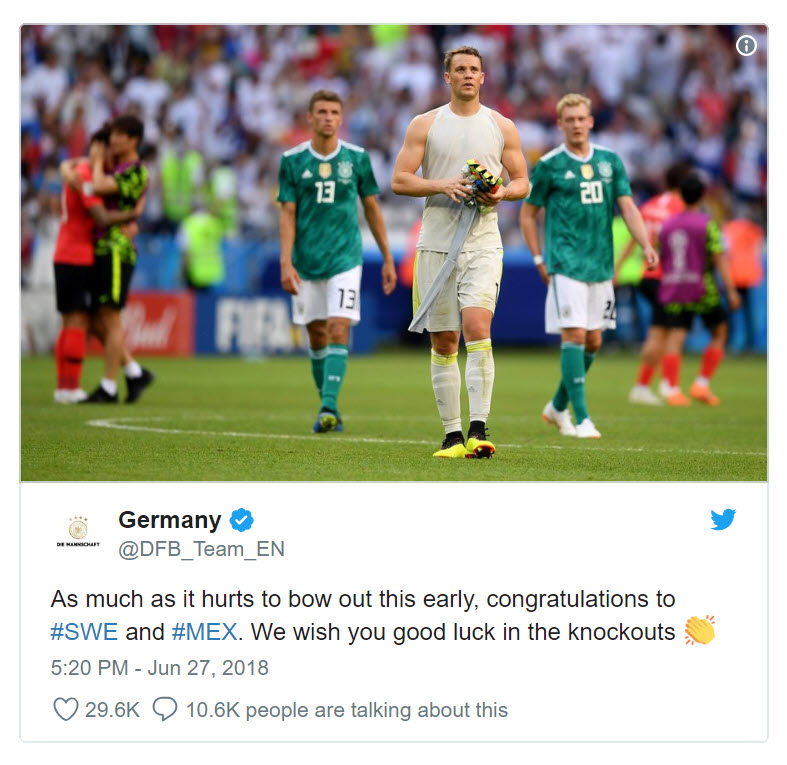 German Team tweet after defeat - wishing opposition best of luck