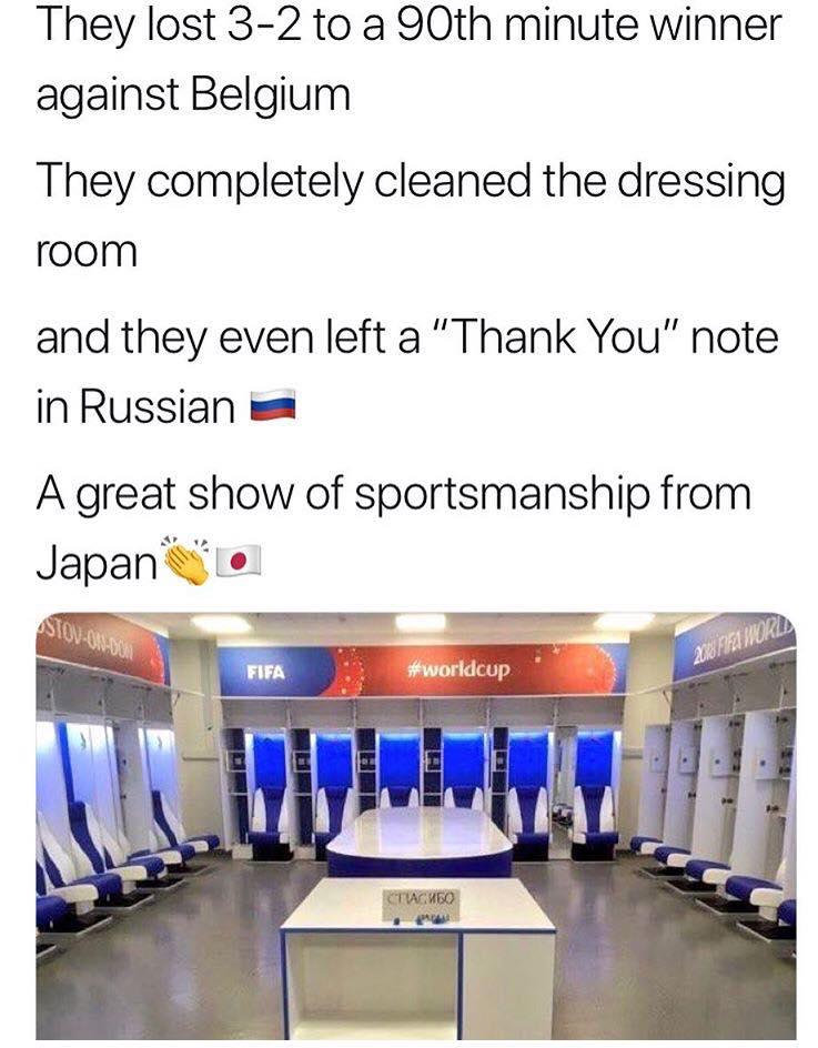 The Japanese team cleaned up their dressing room adn left a message saying 'ThankYou' in Russian.